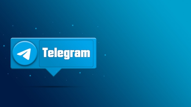 Логотип telegram на 3d визуализации речи пузырь Premium Фотографии