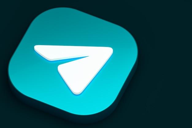 Telegram минимальный логотип 3d-рендеринга крупным планом для дизайна фона шаблона Premium Фотографии