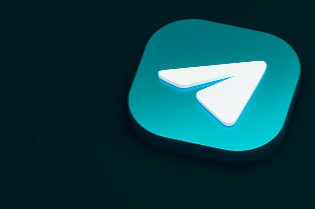 Telegram минимальный логотип 3d-рендеринга Premium Фотографии