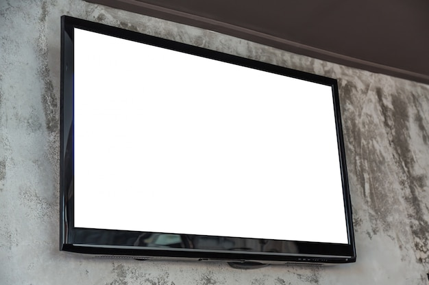 Television with blank screen on the wall 1232 1260