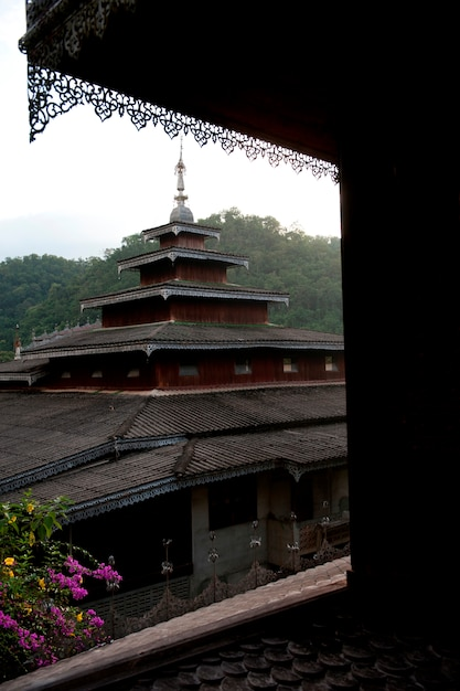 Temple viewed from a window, thailand Premium Photo