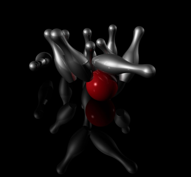 Ten metal bowling skittles and red ball on black Premium Photo