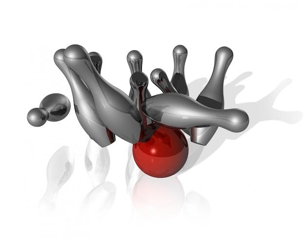 Ten metal bowling skittles and red ball Premium Photo