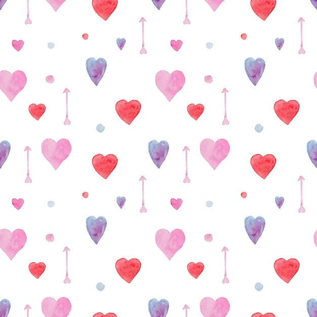 Нежный бесшовный акварельный образец с красными, синими и розовыми сердечками и стрелками Premium Фотографии