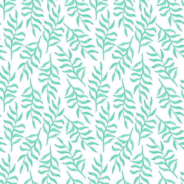 Нежная акварель бесшовные модели с изумрудными листьями и ветвями на белом Premium Фотографии