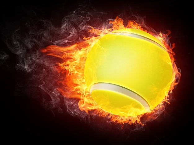 Tennis ball on fire Premium Photo