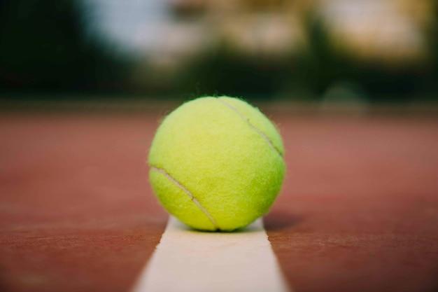 Tennis ball on line Free Photo