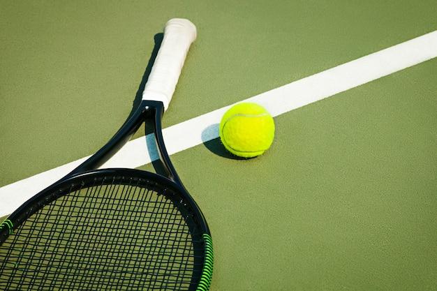 Tennis ball on a tennis court Free Photo