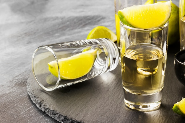 Tequila with lime and salt Premium Photo