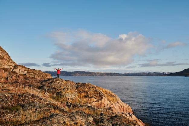 美しい夏の日の風景は、自然の海岸防衛北teriberka、バレンツ海の景色を放棄しました。 Premium写真