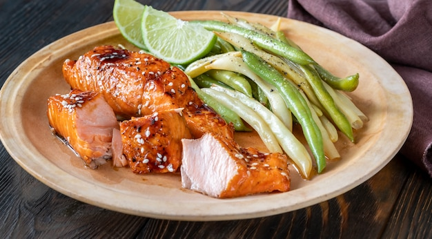 Premium Photo Teriyaki Salmon With Beans