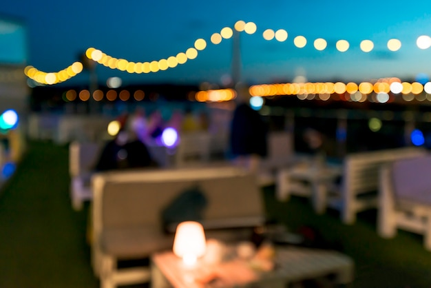 Terrace in night with bokeh lights Free Photo