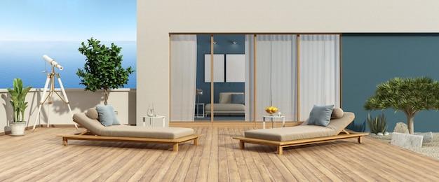 바다가 내려다 보이는 현대 빌라의 테라스와 나무 바닥에 2 개의 의자 라운지-3d 렌더링 프리미엄 사진
