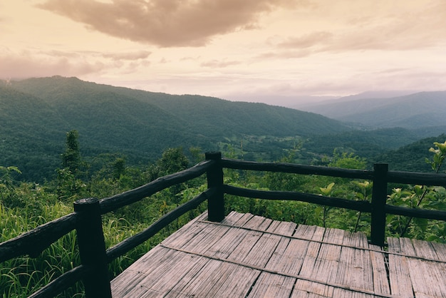 Terrace on view forest green mountain landscape balcony outdoors amazing viewpoint nature hill Premium Photo