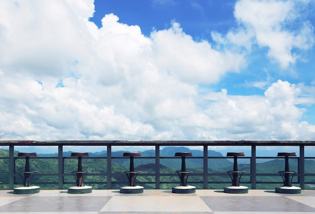 Terrace with beautiful view of the sky and mountains Premium Photo