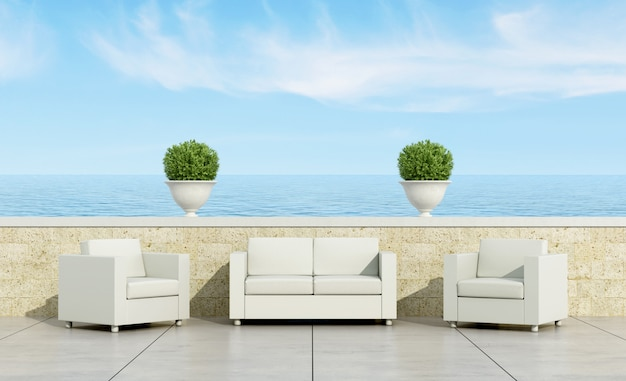Terrace with white sofa and armchairs Premium Photo