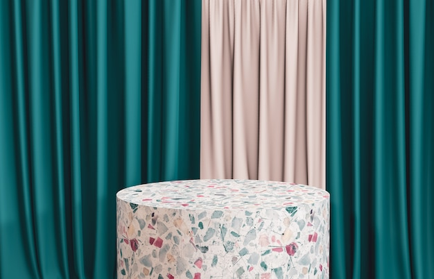 Terrazzo cylinder box podium with green curtain for product display. 3d render. luxury scene. Premium Photo