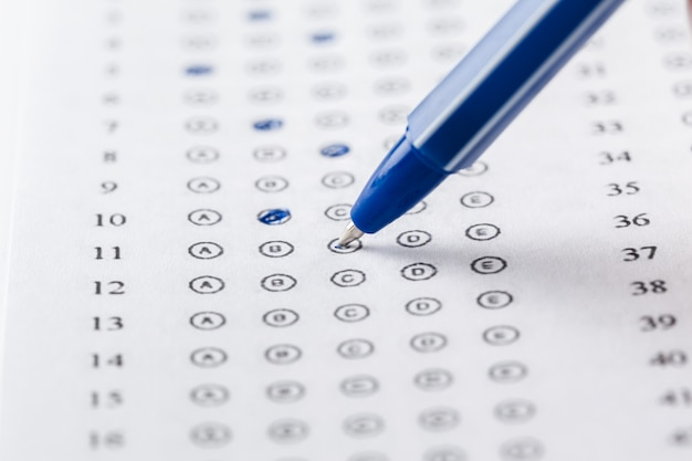 Test score sheet with answers Premium Photo