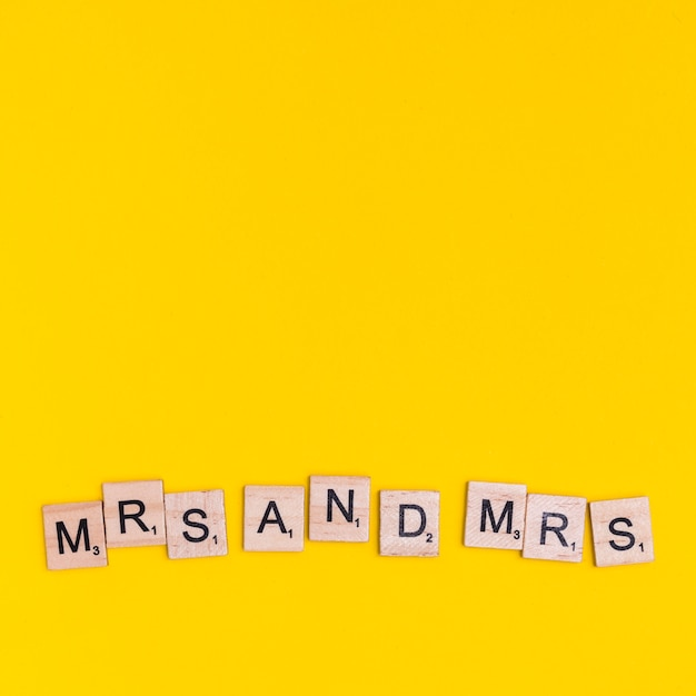 Text mrs and mrs Free Photo