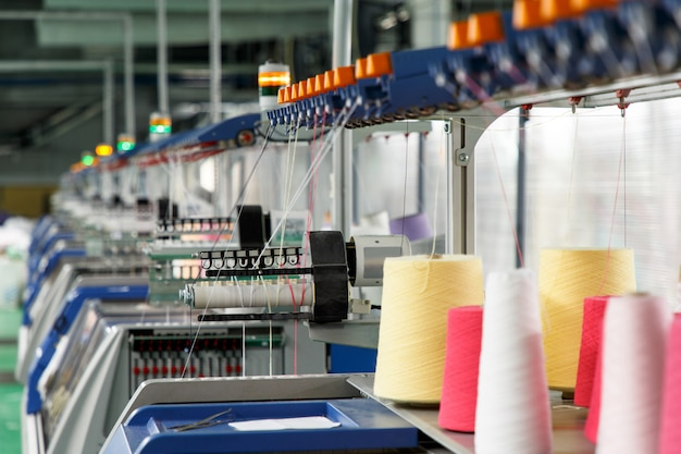 Textile industry with knitting machines Premium Photo
