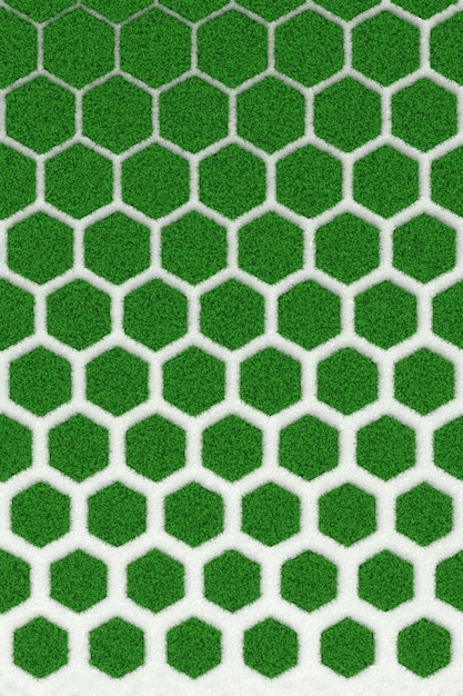 The texture of the concrete honeycomb overgrown green lawn. 3d illustration Premium Photo