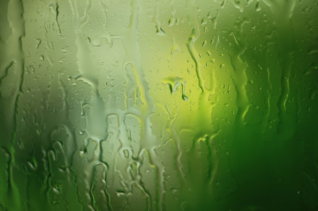 The texture of the rain drops on the window glass on green background Premium Photo