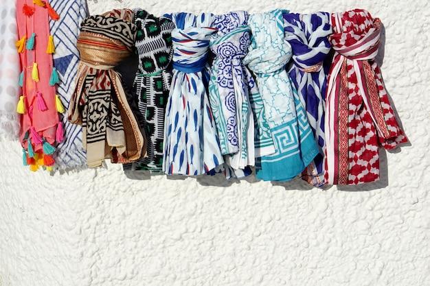 Texture of scarf on the white wall Premium Photo
