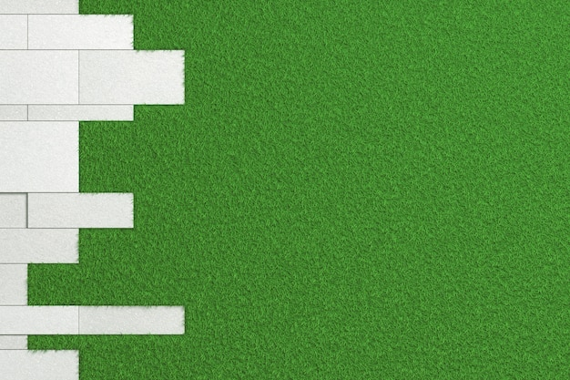 Texture of slabs of different sizes of rough concrete laid on a green lawn. 3d illustration Premium Photo