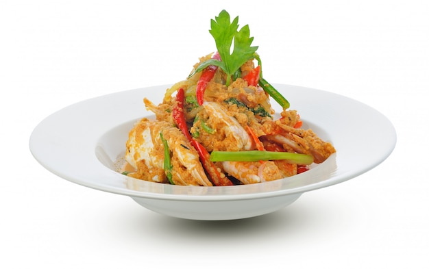 Thai cuisine, fried crab with curry powder Premium Photo