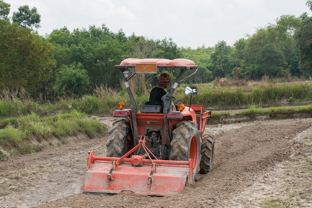 Thai farmers are using a tractor to prepare the soil for growing rice. Premium Photo