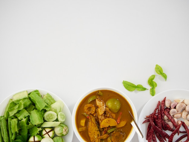 Thai fish organs sour soup and vegetables Premium Photo