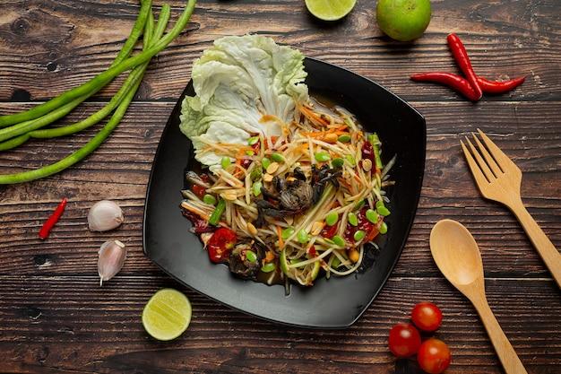 Cibo tailandese; som tum o insalata di papaya Foto Gratuite