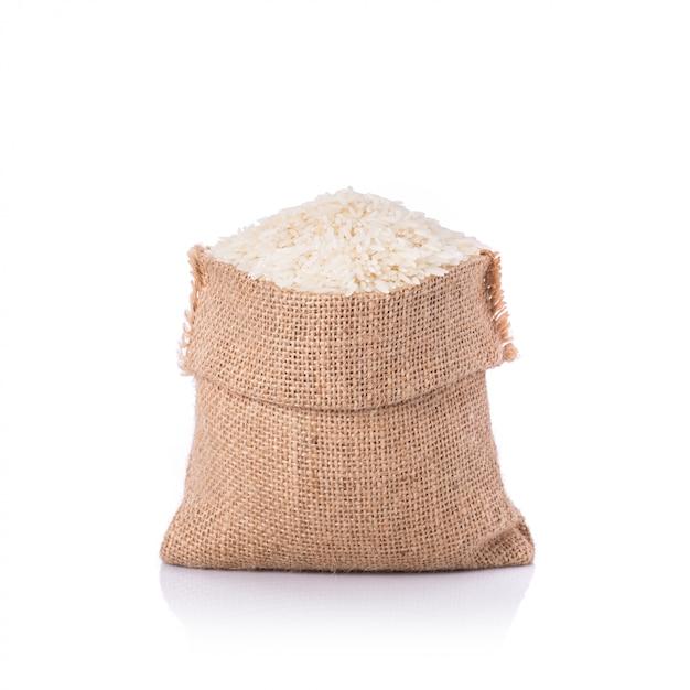 Thai jasmine rice in small sack Premium Photo