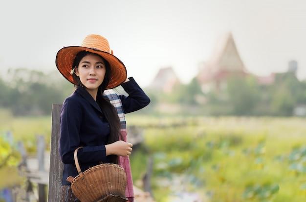 Thai local woman working Premium Photo