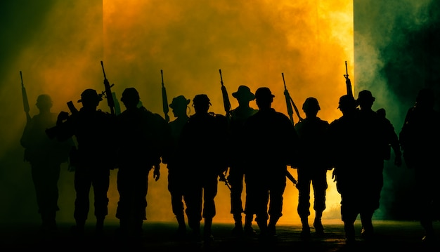 Thai soldiers special forces team full uniform walking action through smoke and holding gun on hand Premium Photo