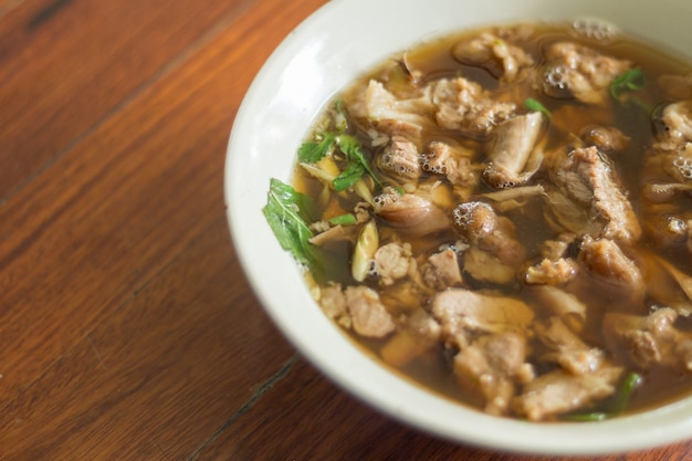 Thai spicy and sour soup of beef entrails Premium Photo