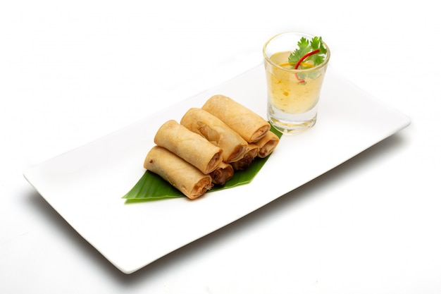 Thai spring roll. food isolated on white background . Premium Photo