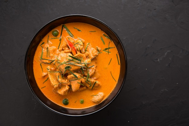 Thai style red curry with beef menu or thai name is panaeng neur. Premium Photo