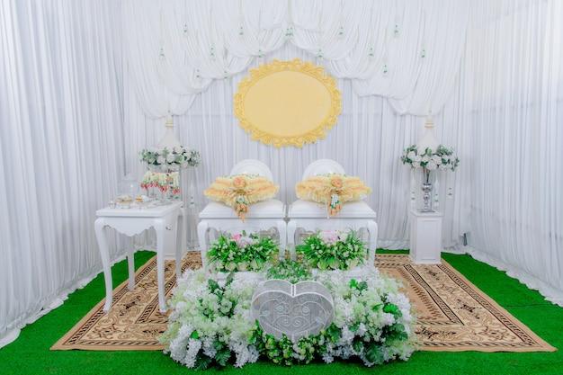 タイの結婚式、結婚式の背景。 Premium写真