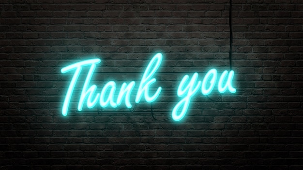 Thank you  neon sign emblem in neon style on brick wall background Premium Photo