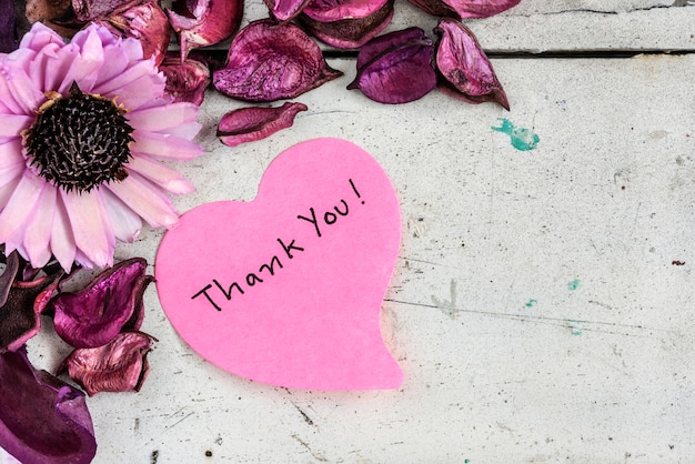 thank you note in heart shape paper with pink flowers premium photo