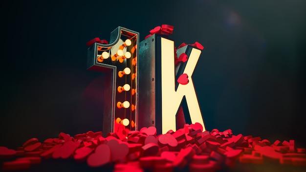 Спасибо 1к подписчикам. подписчики и лайки в социальных сетях Premium Фотографии