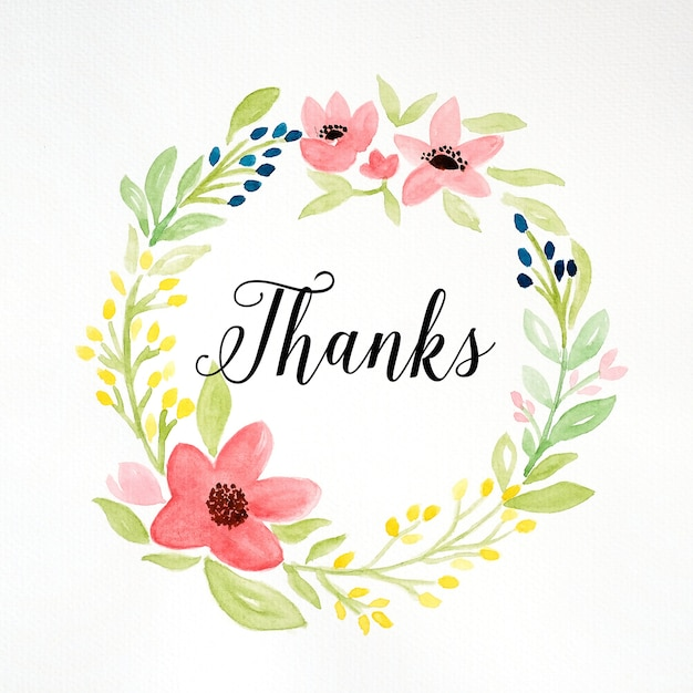 Thanks word and hand drawing watercolor flower wreath on white paper thanks word and hand drawing watercolor flower wreath on white paper background thank you card mightylinksfo