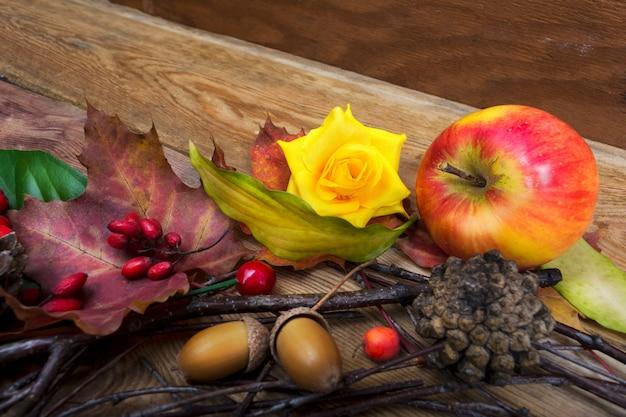 メギ、カエデの葉、黄色いバラの感謝祭の背景 Premium写真