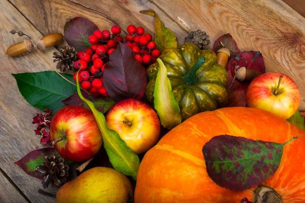 カボチャ、リンゴ、ナナカマド、グリーンスカッシュと感謝祭の背景 Premium写真