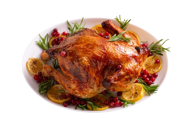 Thanksgiving chicken isolated on white Premium Photo
