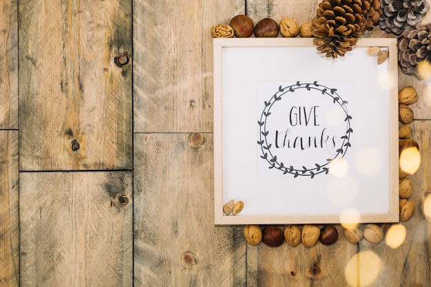 Thanksgiving concept with frame and space on left Free Photo