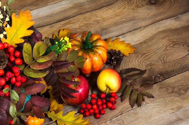 ベリー、カボチャ、ナナカマド、オークの葉、コピースペースのある感謝祭の装飾 Premium写真