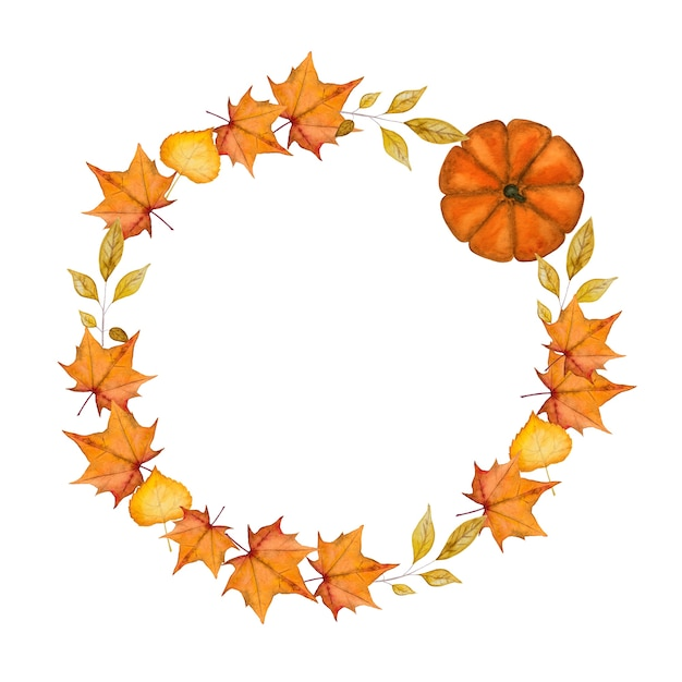 Thanksgiving wreath frame circle Premium Photo