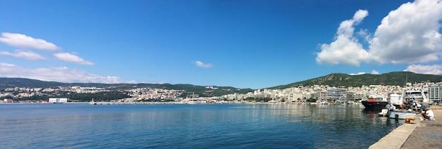 Thasos island greece kavala city cityscape panorama Premium Photo